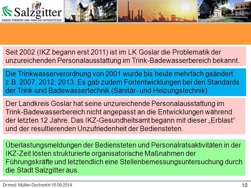 Dr.med. Müller-Dechent # 16.09.2014 10 Seit 2002 (IKZ begann erst 2011) ist im LK Goslar die Problematik der unzureichenden Personalausstattung im Tri