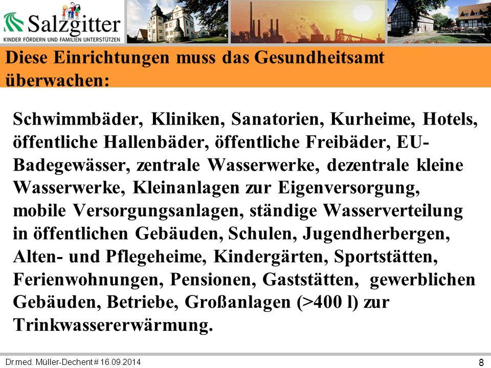 Dr.med. Müller-Dechent # 16.09.2014 8 Diese Einrichtungen muss das Gesundheitsamt überwachen: Schwimmbäder, Kliniken, Sanatorien, Kurheime, Hotels, öf