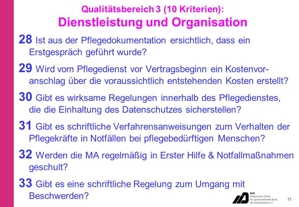 Qualitätsbereich 3 (10 Kriterien): Dienstleistung und Organisation 28 Ist aus der Pflegedokumentation ersichtlich, dass ein Erstgespräch geführt wurde.