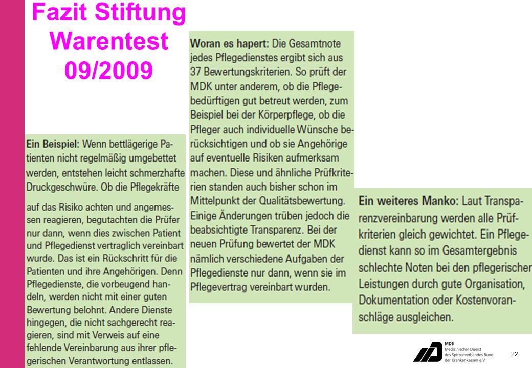 Fazit Stiftung Warentest 09/2009 22