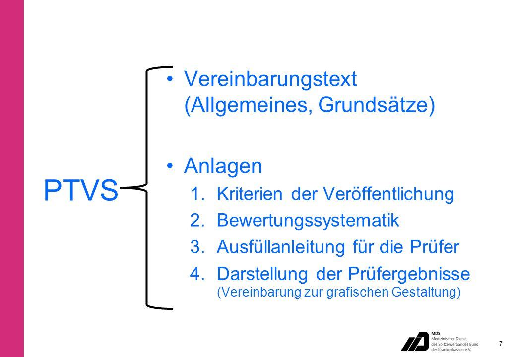 PTVS Vereinbarungstext (Allgemeines, Grundsätze) Anlagen 1.Kriterien der Veröffentlichung 2.Bewertungssystematik 3.Ausfüllanleitung für die Prüfer 4.Darstellung der Prüfergebnisse (Vereinbarung zur grafischen Gestaltung) 7