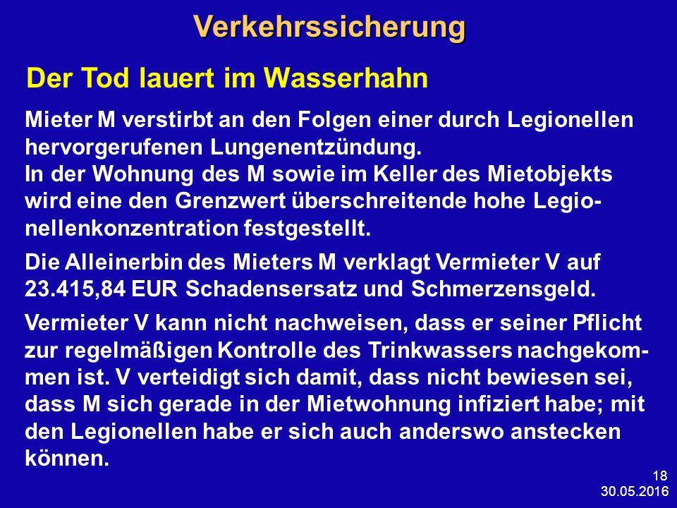 30.05.2016 18 Verkehrssicherung Verkehrssicherung Der Tod lauert im Wasserhahn Mieter M verstirbt an den Folgen einer durch Legionellen hervorgerufenen Lungenentzündung.