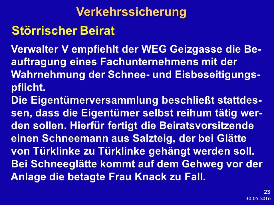 30.05.2016 23 Verkehrssicherung Verkehrssicherung Störrischer Beirat Verwalter V empfiehlt der WEG Geizgasse die Be- auftragung eines Fachunternehmens