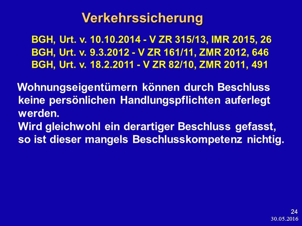 30.05.2016 24 Verkehrssicherung Verkehrssicherung BGH, Urt. v. 10.10.2014 - V ZR 315/13, IMR 2015, 26 BGH, Urt. v. 9.3.2012 - V ZR 161/11, ZMR 2012, 6