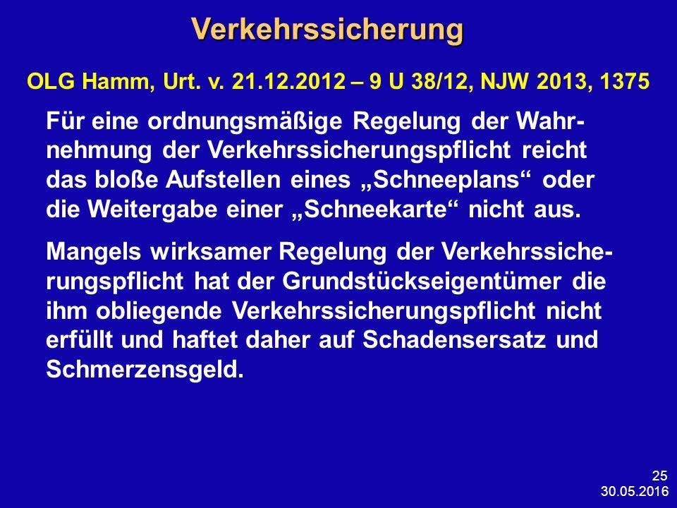 30.05.2016 25 Verkehrssicherung Verkehrssicherung OLG Hamm, Urt. v. 21.12.2012 – 9 U 38/12, NJW 2013, 1375 Für eine ordnungsmäßige Regelung der Wahr-