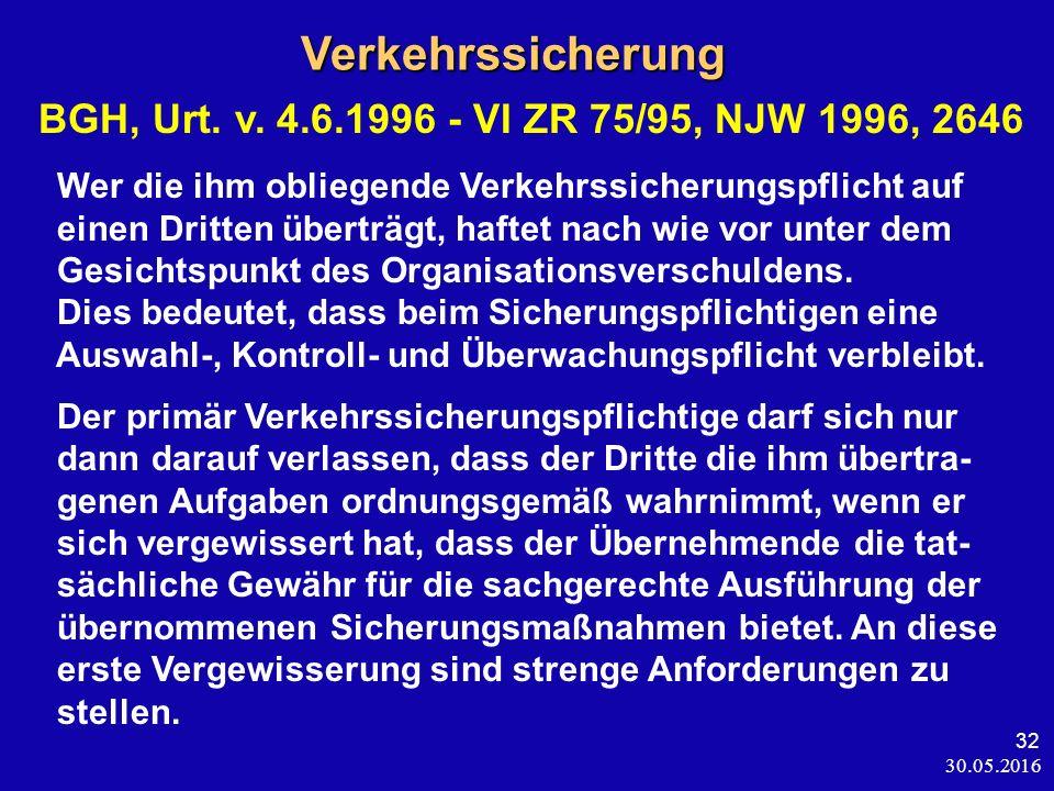 30.05.2016 32Verkehrssicherung BGH, Urt. v. 4.6.1996 - VI ZR 75/95, NJW 1996, 2646 Wer die ihm obliegende Verkehrssicherungspflicht auf einen Dritten