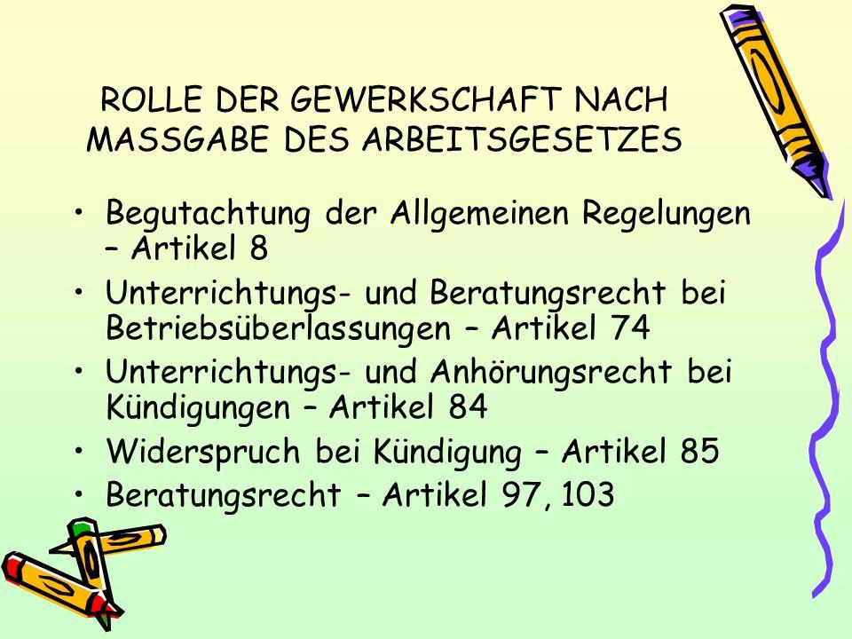 ROLLE DER GEWERKSCHAFT NACH MASSGABE DES ARBEITSGESETZES Begutachtung der Allgemeinen Regelungen – Artikel 8 Unterrichtungs- und Beratungsrecht bei Be