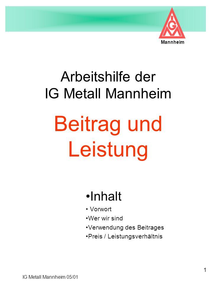 IG Metall Mannheim 05/01 Mannheim 1 Arbeitshilfe der IG Metall Mannheim Inhalt Vorwort Wer wir sind Verwendung des Beitrages Preis / Leistungsverhältn