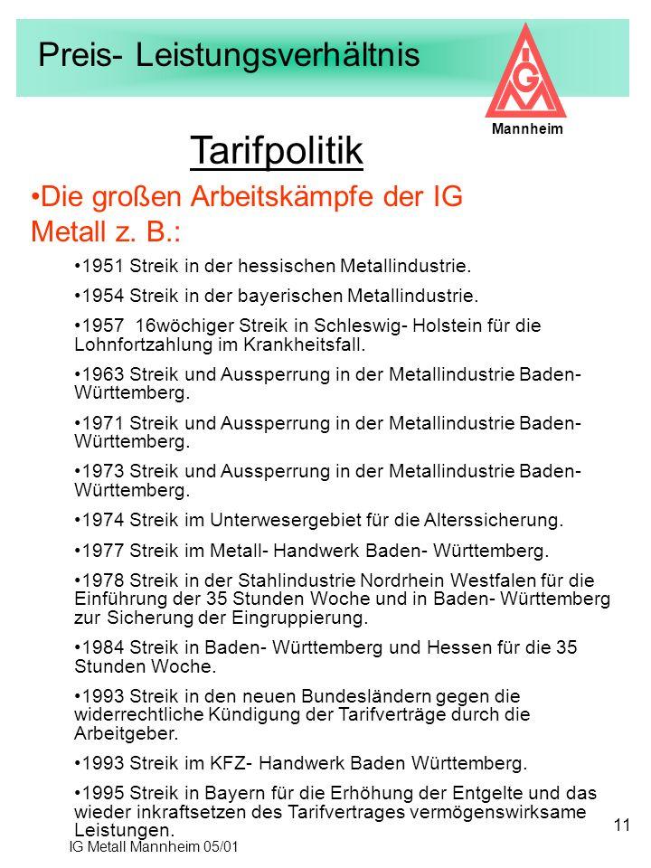 IG Metall Mannheim 05/01 Mannheim 11 Tarifpolitik 1951 Streik in der hessischen Metallindustrie. 1954 Streik in der bayerischen Metallindustrie. 1957