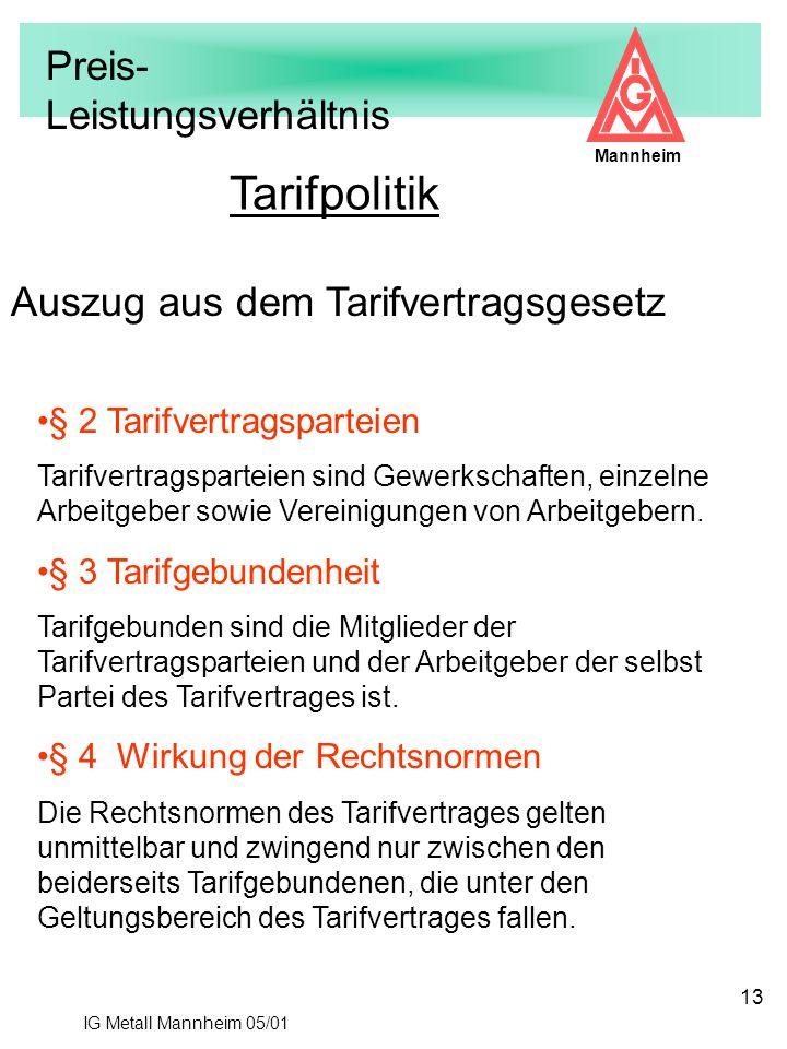 IG Metall Mannheim 05/01 Mannheim 13 Tarifpolitik § 2 Tarifvertragsparteien Tarifvertragsparteien sind Gewerkschaften, einzelne Arbeitgeber sowie Vere