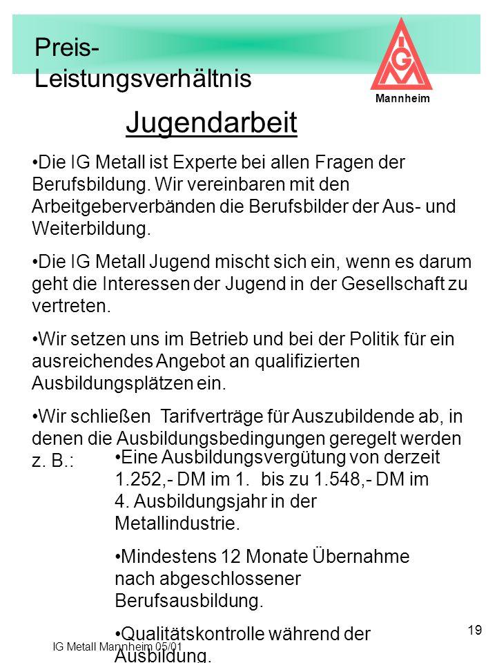 IG Metall Mannheim 05/01 Mannheim 19 Jugendarbeit Preis- Leistungsverhältnis Eine Ausbildungsvergütung von derzeit 1.252,- DM im 1. bis zu 1.548,- DM