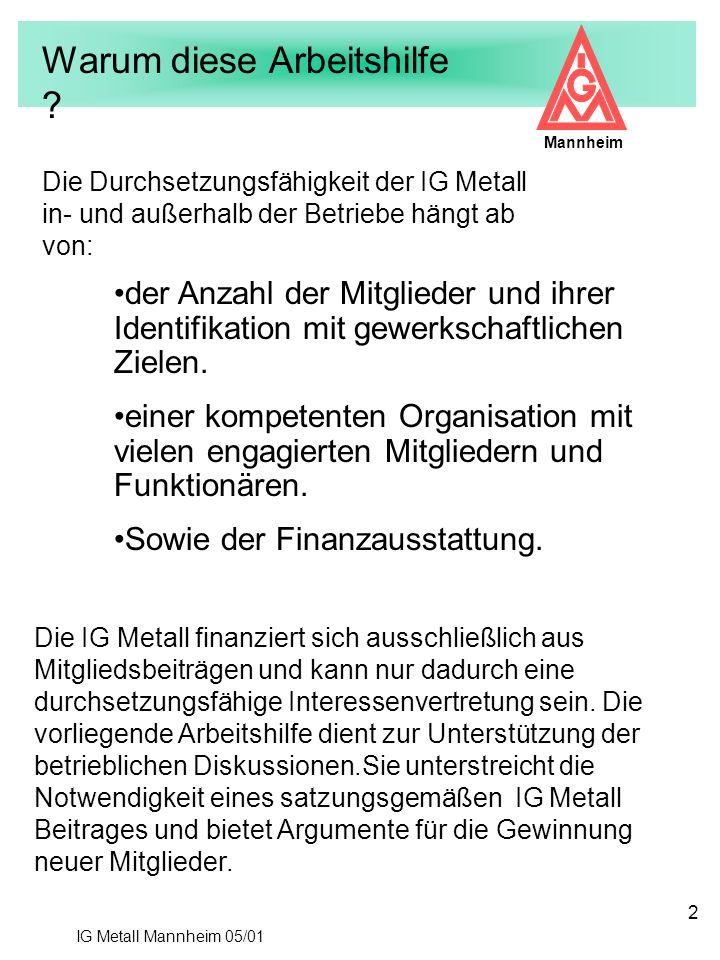 IG Metall Mannheim 05/01 Mannheim 2 Warum diese Arbeitshilfe ? Die Durchsetzungsfähigkeit der IG Metall in- und außerhalb der Betriebe hängt ab von: d