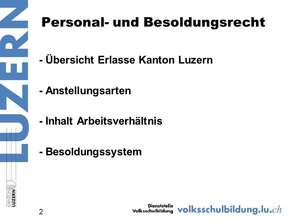 Übersicht über Erlasse Kanton Luzern 3 Gesetz über das öffentlich-rechtliche Arbeitsverhältnis (Personalgesetz ) SRL Nr.