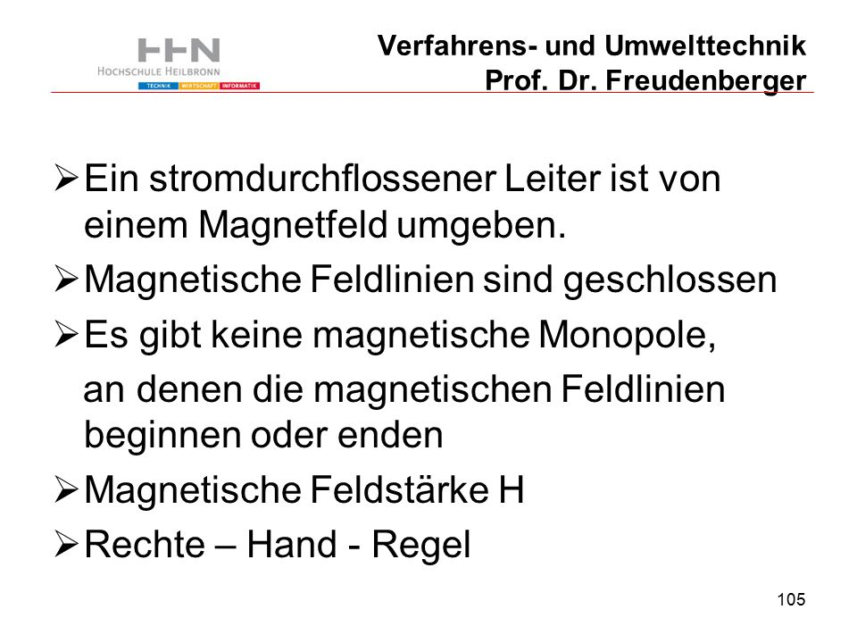 105 Verfahrens- und Umwelttechnik Prof. Dr.