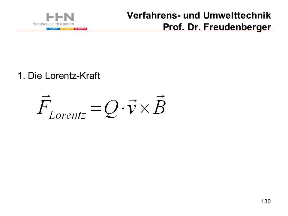 130 Verfahrens- und Umwelttechnik Prof. Dr. Freudenberger 1. Die Lorentz-Kraft