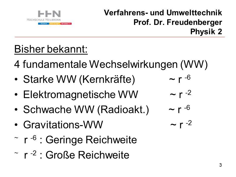 14 Verfahrens- und Umwelttechnik Prof. Dr. Freudenberger Physik 2 Bisher bekannt: Paarbildung