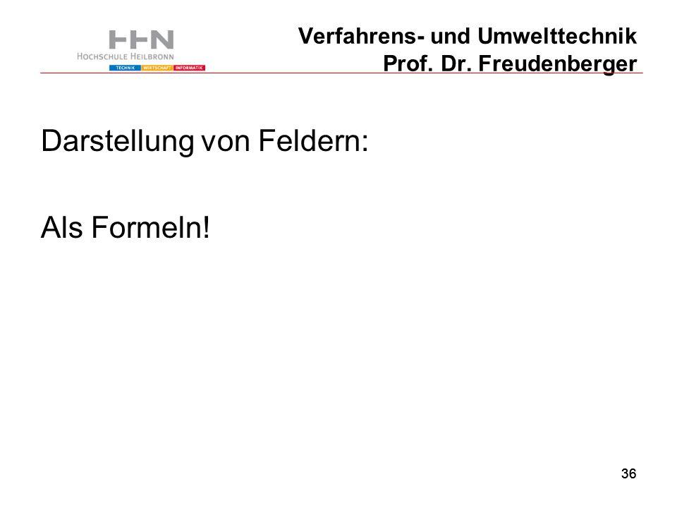 36 Verfahrens- und Umwelttechnik Prof. Dr. Freudenberger Darstellung von Feldern: Als Formeln!