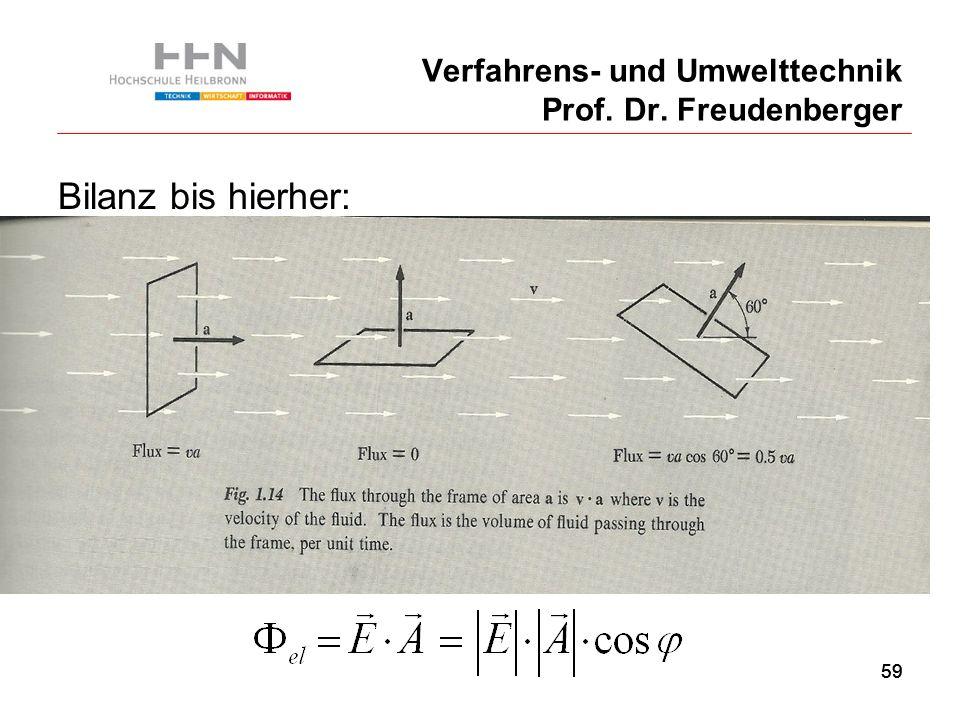 59 Verfahrens- und Umwelttechnik Prof. Dr. Freudenberger Bilanz bis hierher: