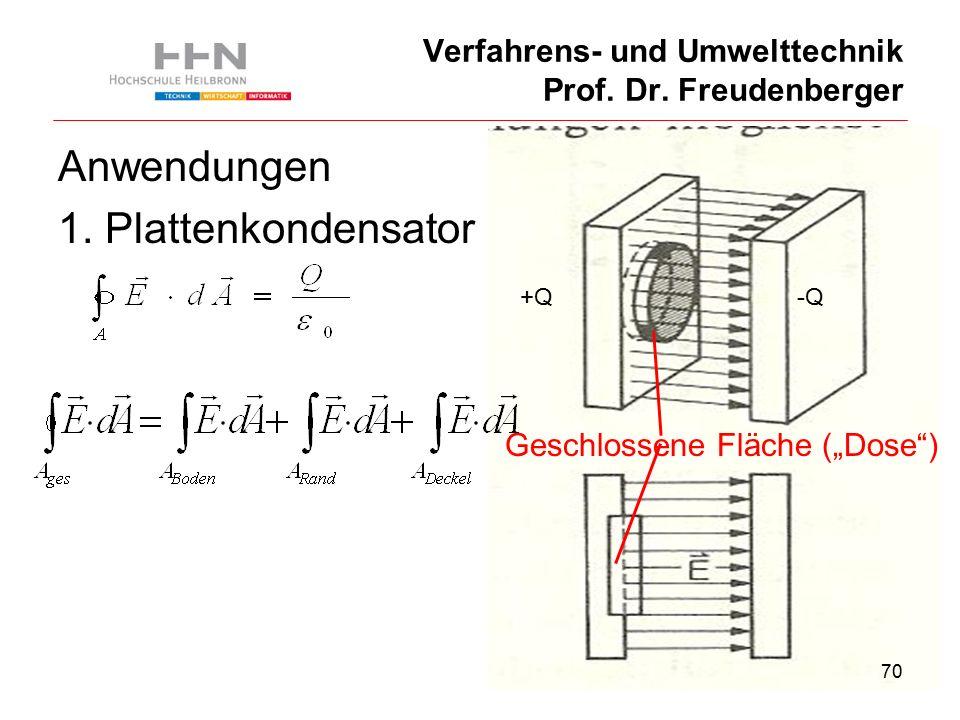 70 Verfahrens- und Umwelttechnik Prof. Dr. Freudenberger Anwendungen 1.
