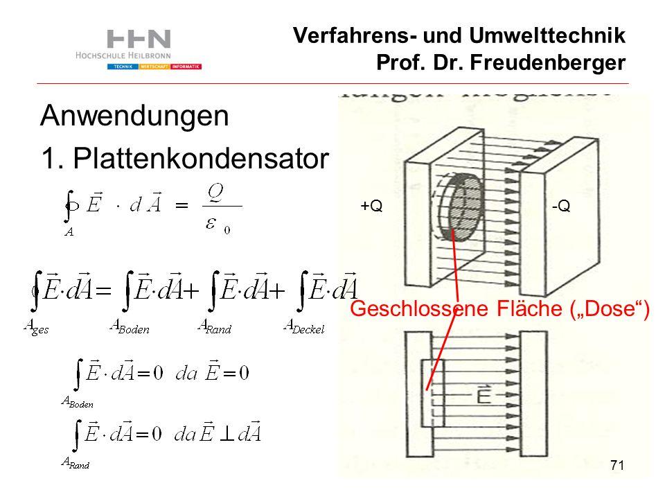 71 Verfahrens- und Umwelttechnik Prof. Dr. Freudenberger Anwendungen 1.
