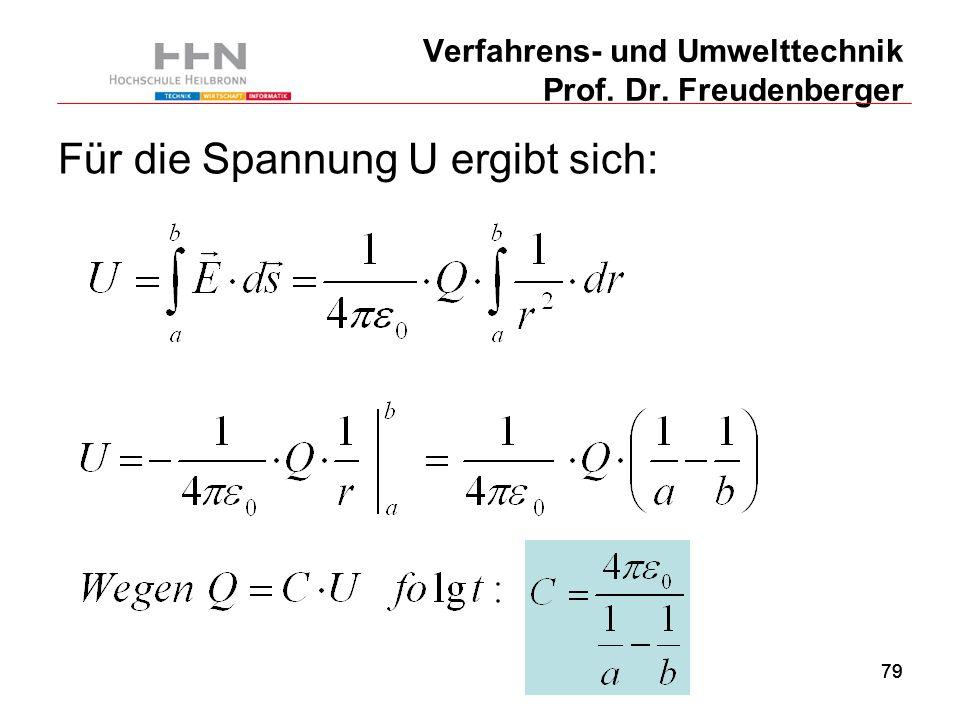 79 Verfahrens- und Umwelttechnik Prof. Dr. Freudenberger Für die Spannung U ergibt sich: 79