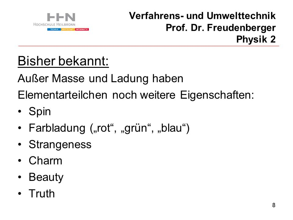 8 Verfahrens- und Umwelttechnik Prof. Dr.