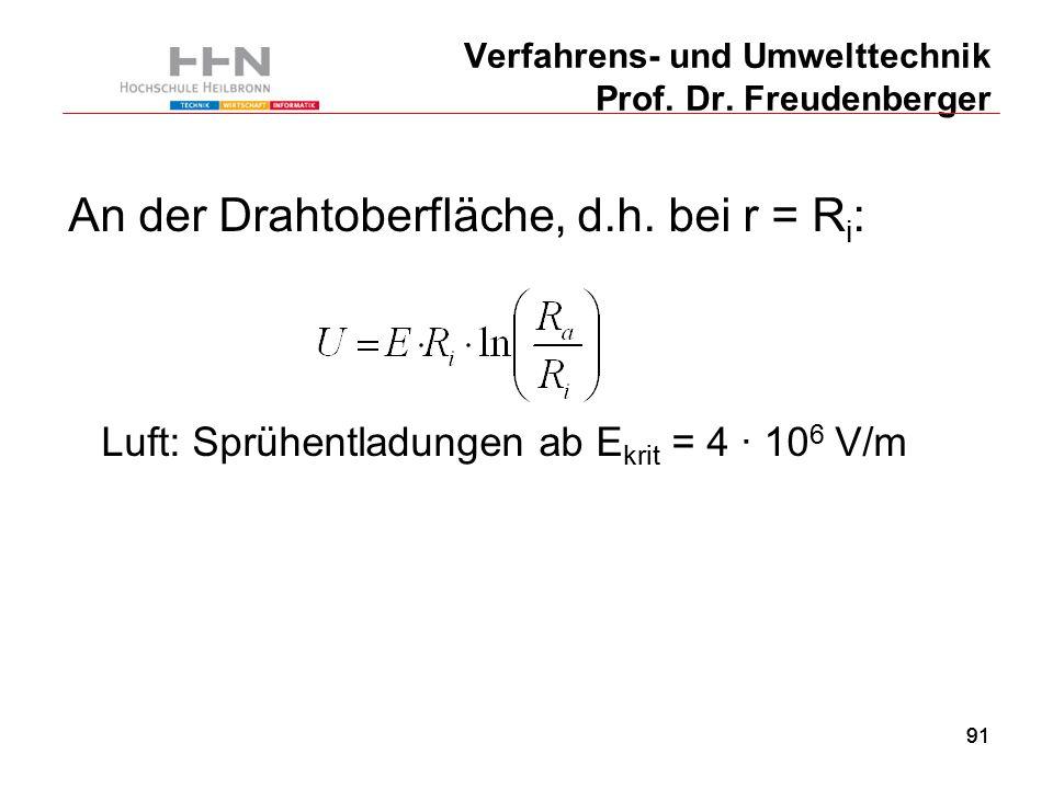 91 Verfahrens- und Umwelttechnik Prof. Dr. Freudenberger An der Drahtoberfläche, d.h.