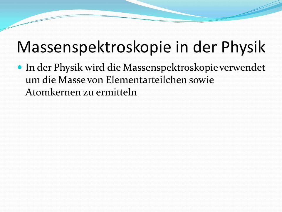 Massenspektroskopie in der Physik In der Physik wird die Massenspektroskopie verwendet um die Masse von Elementarteilchen sowie Atomkernen zu ermittel