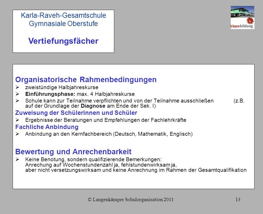 © Langenkämper Schulorganisation 201113 Organisatorische Rahmenbedingungen  zweistündige Halbjahreskurse  Einführungsphase: max.