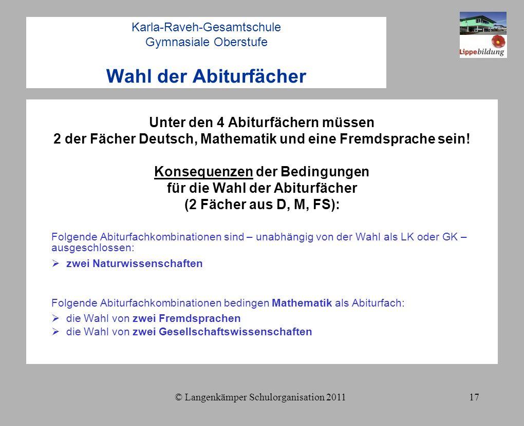 © Langenkämper Schulorganisation 201117 Karla-Raveh-Gesamtschule Gymnasiale Oberstufe Wahl der Abiturfächer Unter den 4 Abiturfächern müssen 2 der Fächer Deutsch, Mathematik und eine Fremdsprache sein.