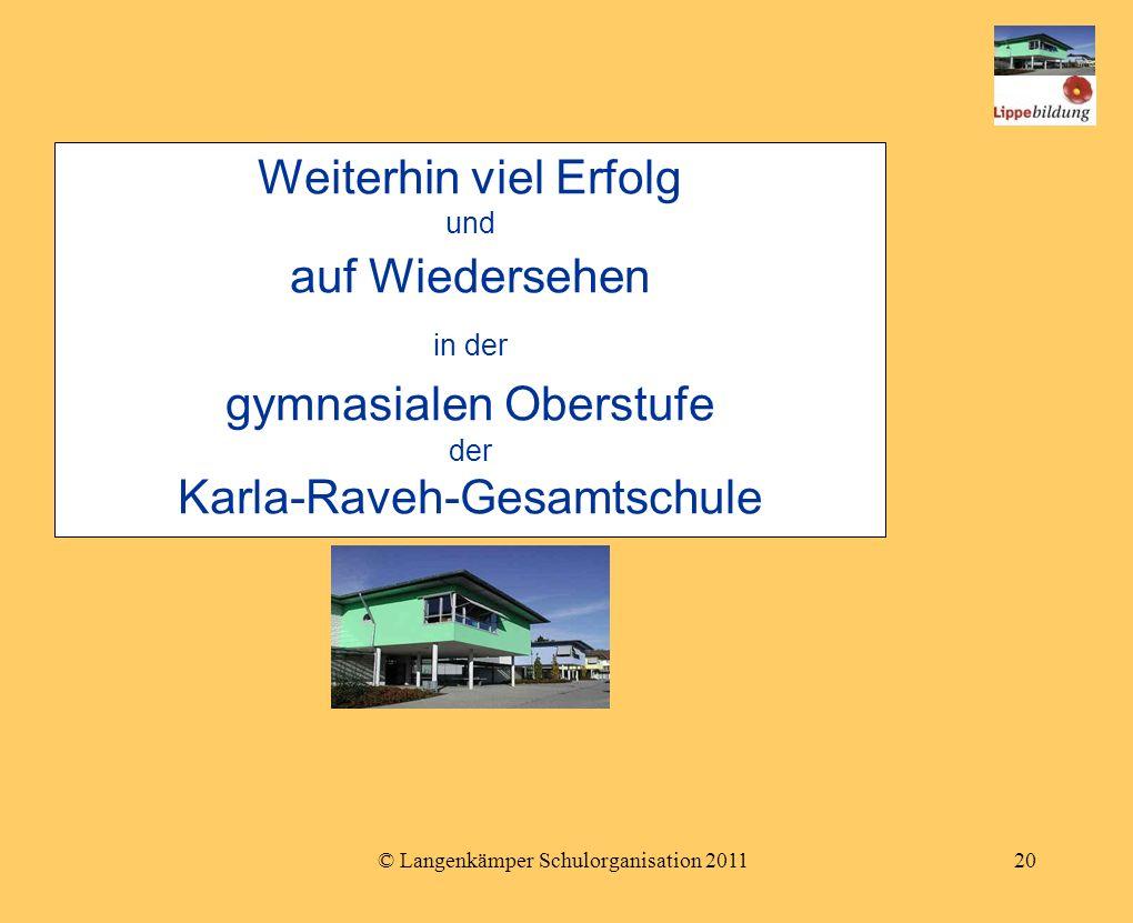 © Langenkämper Schulorganisation 201120 Weiterhin viel Erfolg und auf Wiedersehen in der gymnasialen Oberstufe der Karla-Raveh-Gesamtschule