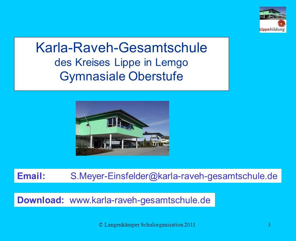 © Langenkämper Schulorganisation 20113 Karla-Raveh-Gesamtschule des Kreises Lippe in Lemgo Gymnasiale Oberstufe Email: S.Meyer-Einsfelder@karla-raveh-gesamtschule.de Download: www.karla-raveh-gesamtschule.de