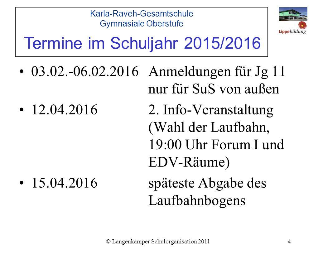 © Langenkämper Schulorganisation 20114 03.02.-06.02.2016Anmeldungen für Jg 11 nur für SuS von außen 12.04.20162.