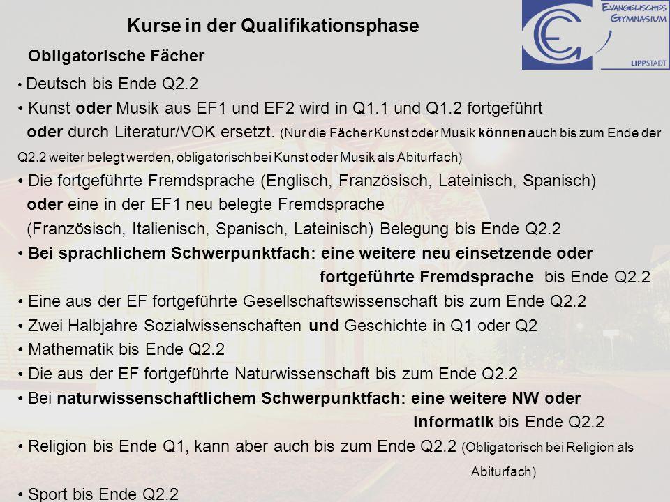 Kurse in der Qualifikationsphase Deutsch bis Ende Q2.2 Kunst oder Musik aus EF1 und EF2 wird in Q1.1 und Q1.2 fortgeführt oder durch Literatur/VOK ers