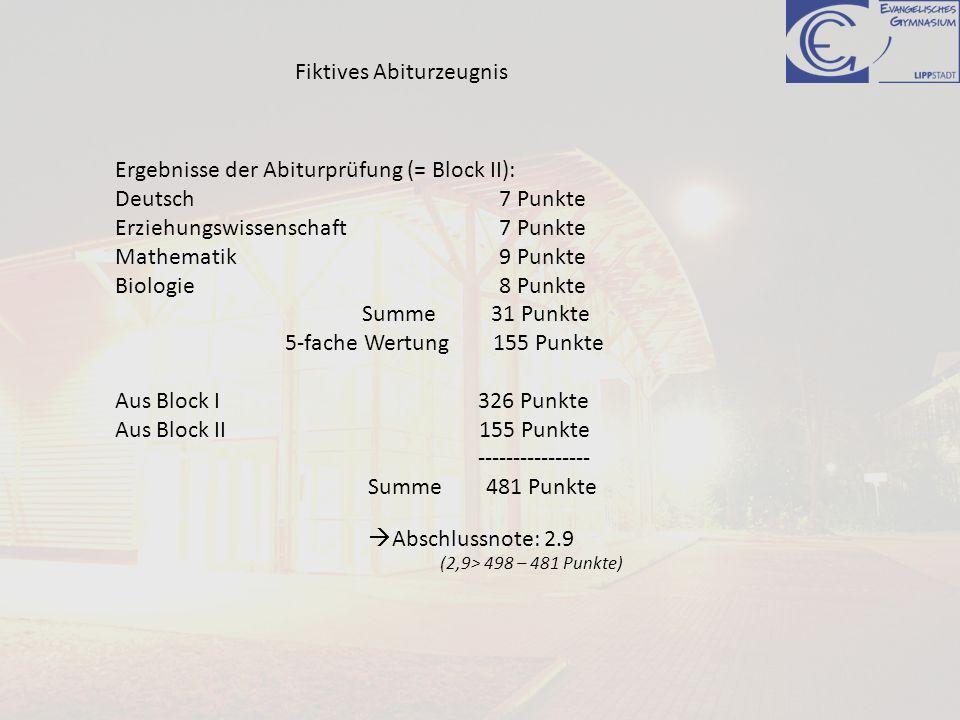 Fiktives Abiturzeugnis Ergebnisse der Abiturprüfung (= Block II): Deutsch 7 Punkte Erziehungswissenschaft7 Punkte Mathematik9 Punkte Biologie8 Punkte