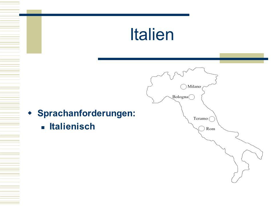 Italien  Sprachanforderungen: Italienisch