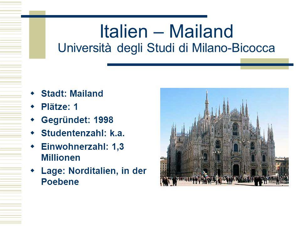 Italien – Mailand Università degli Studi di Milano-Bicocca  Stadt: Mailand  Plätze: 1  Gegründet: 1998  Studentenzahl: k.a.