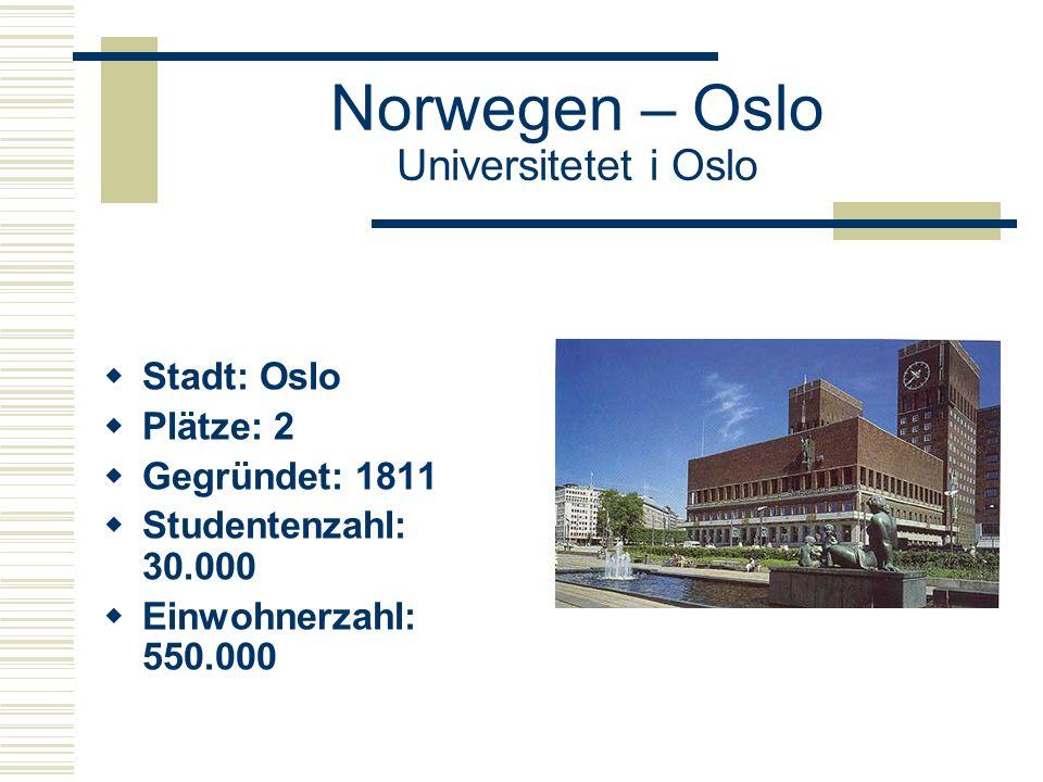 Norwegen – Oslo Universitetet i Oslo  Stadt: Oslo  Plätze: 2  Gegründet: 1811  Studentenzahl: 30.000  Einwohnerzahl: 550.000