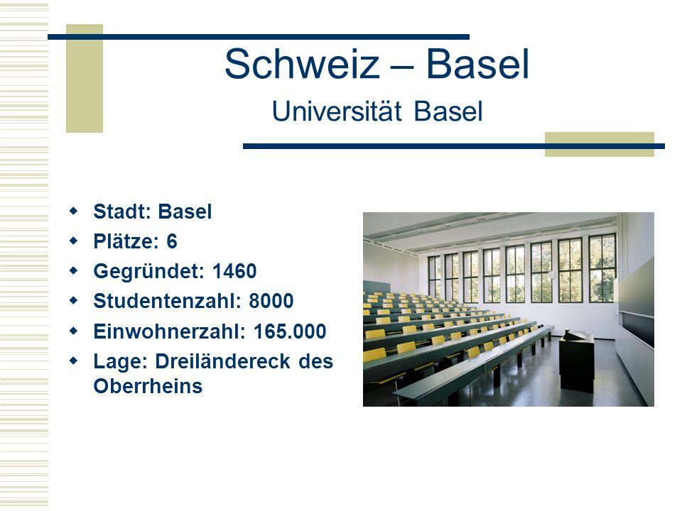 Schweiz – Basel Universität Basel  Stadt: Basel  Plätze: 6  Gegründet: 1460  Studentenzahl: 8000  Einwohnerzahl: 165.000  Lage: Dreiländereck des Oberrheins