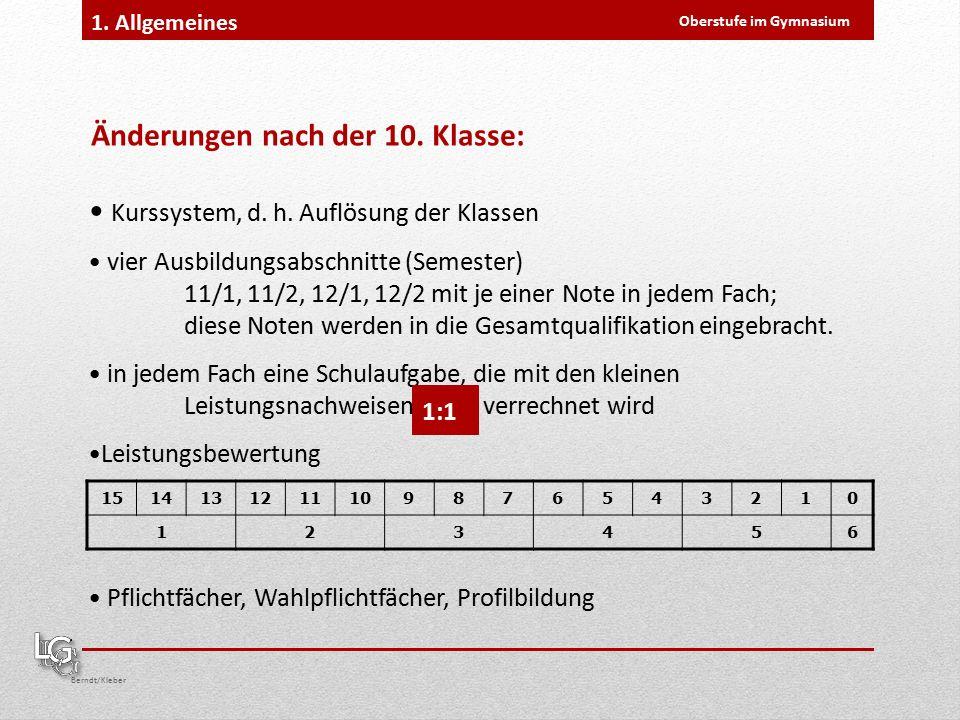Oberstufe im Gymnasium Berndt/Kleber 1. Allgemeines Kurssystem, d.