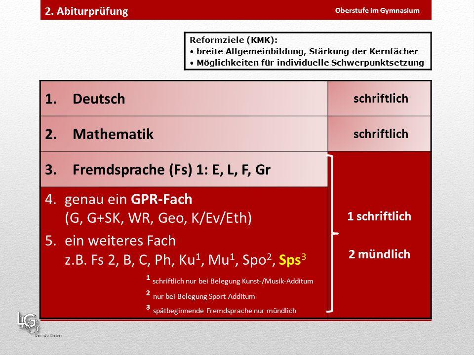 Oberstufe im Gymnasium Berndt/Kleber 2.