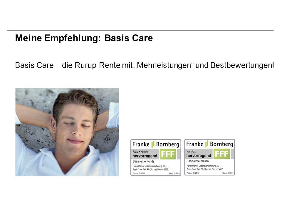 """Basis Care – die Rürup-Rente mit """"Mehrleistungen und Bestbewertungen! Meine Empfehlung: Basis Care"""