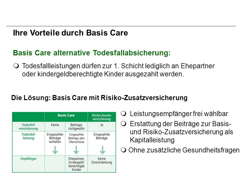 Basis Care alternative Todesfallabsicherung: Die Lösung: Basis Care mit Risiko-Zusatzversicherung  Todesfallleistungen dürfen zur 1.