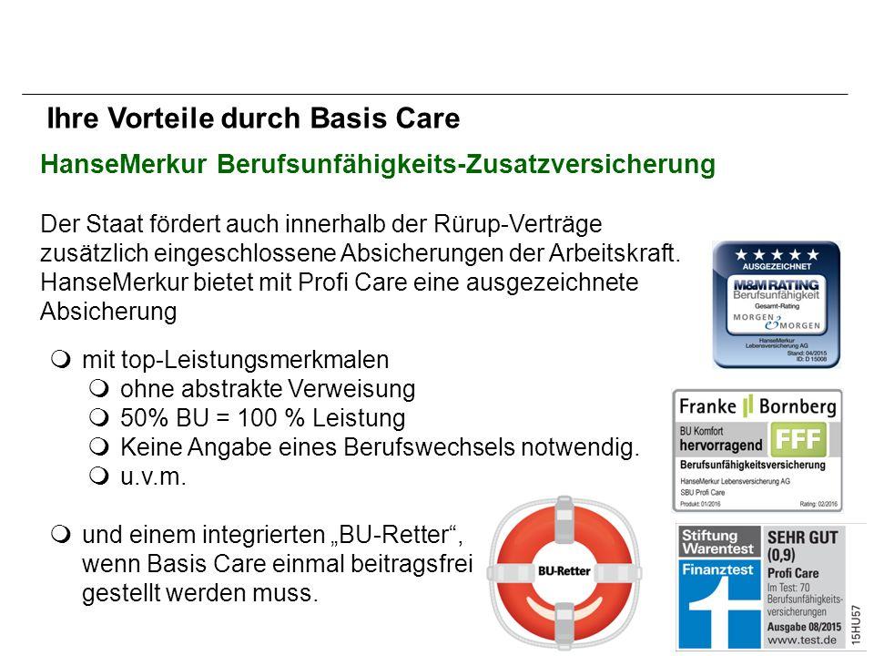 HanseMerkur Berufsunfähigkeits-Zusatzversicherung  mit top-Leistungsmerkmalen  ohne abstrakte Verweisung  50% BU = 100 % Leistung  Keine Angabe eines Berufswechsels notwendig.