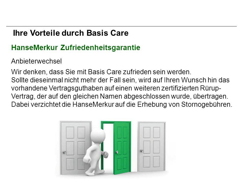 HanseMerkur Zufriedenheitsgarantie Anbieterwechsel Wir denken, dass Sie mit Basis Care zufrieden sein werden.