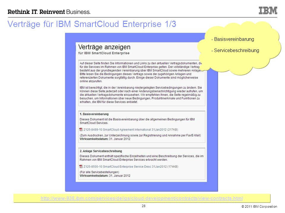 © 2011 IBM Corporation 28 Verträge für IBM SmartCloud Enterprise 1/3 http://www-935.ibm.com/services/de/igs/cloud-development/contracts/view-contracts
