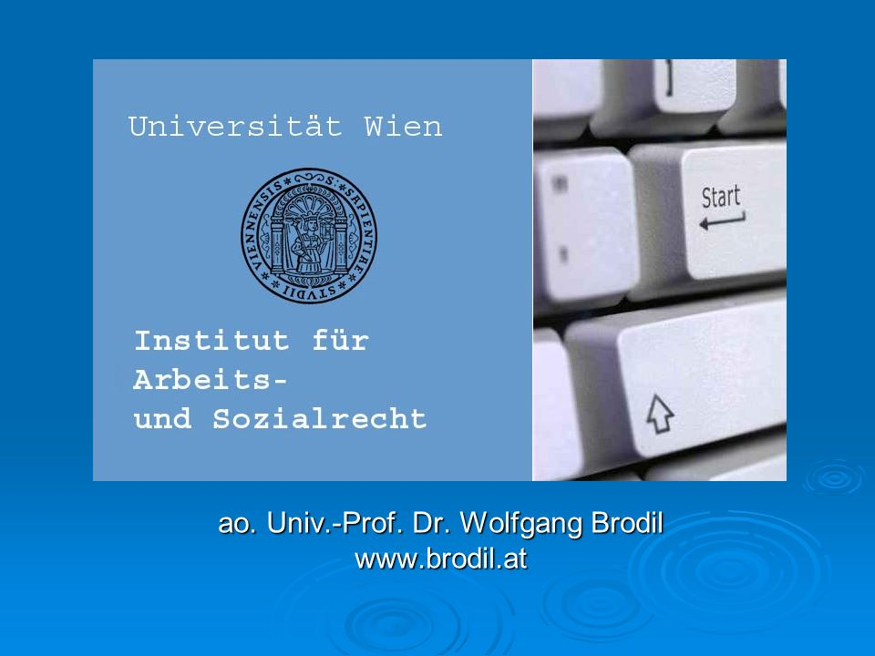 ao. Univ.-Prof. Dr. Wolfgang Brodil www.brodil.at