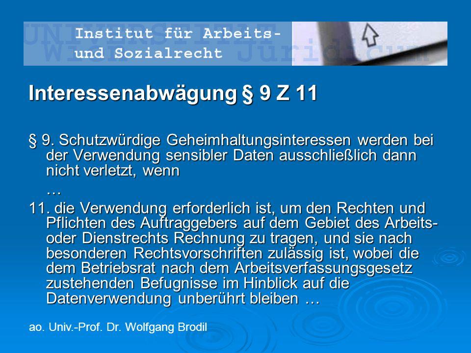 Interessenabwägung § 9 Z 11 § 9.