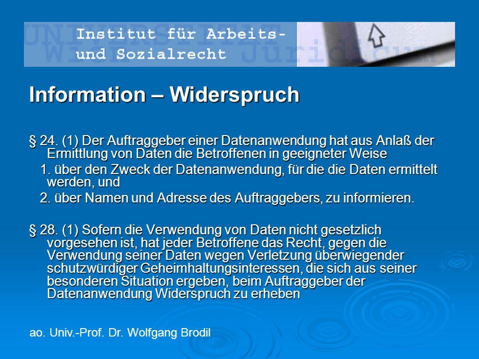Information – Widerspruch § 24.