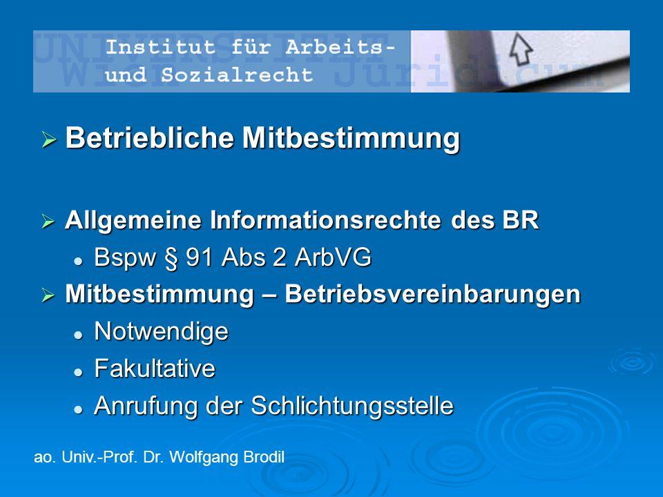  Betriebliche Mitbestimmung  Allgemeine Informationsrechte des BR Bspw § 91 Abs 2 ArbVG Bspw § 91 Abs 2 ArbVG  Mitbestimmung – Betriebsvereinbarung